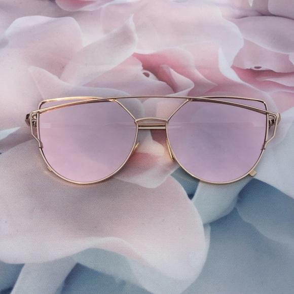 7669dbfe6af1 Pink Cat Eye Mirrored Street Fashion Sunglasses